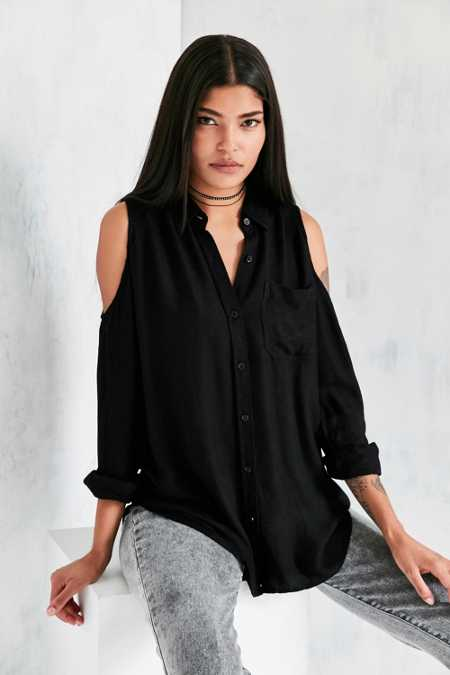 Silence + Noise Cold Shoulder Button-Down Shirt