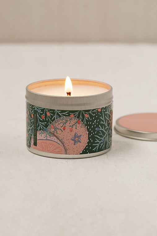 Artist Print Holiday Tin Candle,GRAPEFRUIT & CHAMPAGNE,ONE SIZE