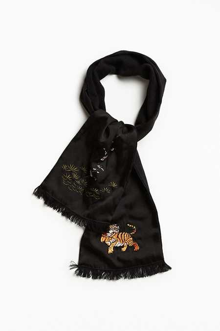 Embroidered Tiger Scarf