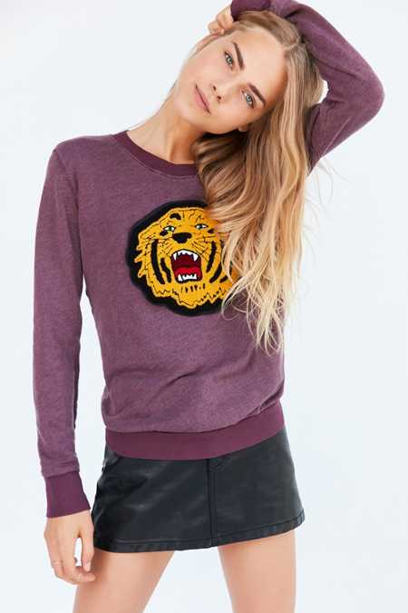 Truly Madly Deeply Embroidered Tiger Pullover Sweatshirt