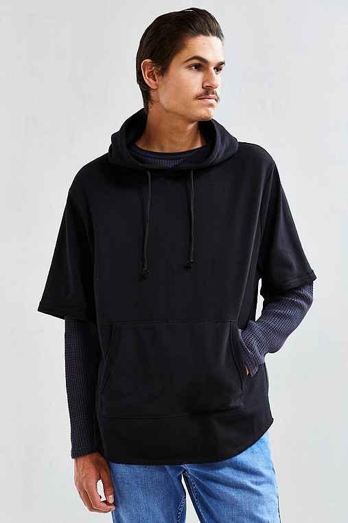 Feathers Scoop Short-Sleeve Hoodie Sweatshirt,BLACK,XL