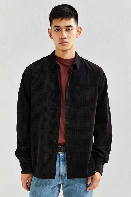 UO Tile Print Corduroy Button-Down Shirt