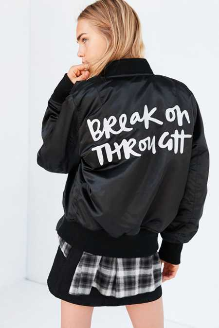 US By Understated Leather Slogan Satin Bomber Jacket