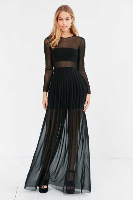 Silence + Noise Katerina Pleated Mesh Maxi Dress
