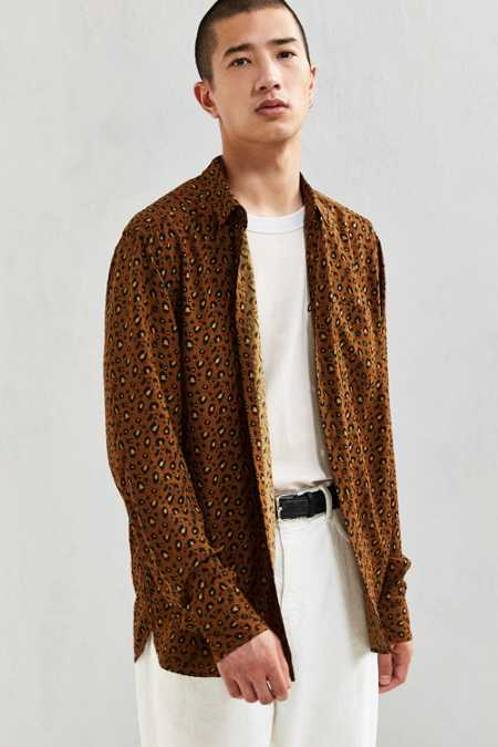 UO Owen Leopard Rayon Button-Down Shirt