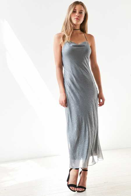 Silence + Noise Brona Croc Bias Midi Slip Dress