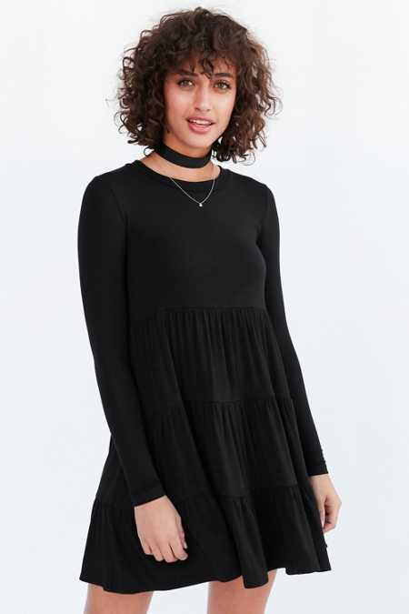 BDG Knit Tiered Long-Sleeve Mini Dress