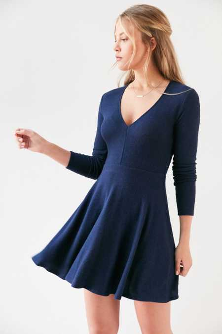 Kimchi Blue Cozy Plunging Fit + Flare Mini Dress
