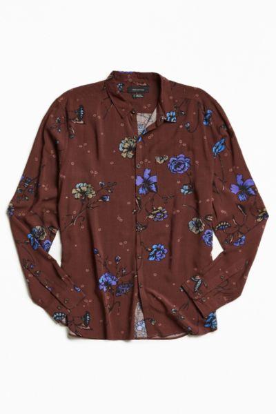 UO Owen Rose Print Rayon Button-Down Shirt
