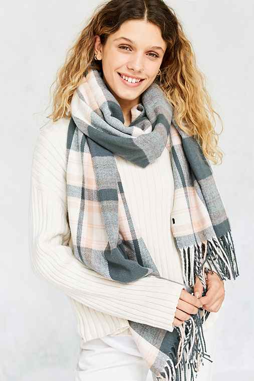 Plaid Blanket Scarf,IVORY,ONE SIZE