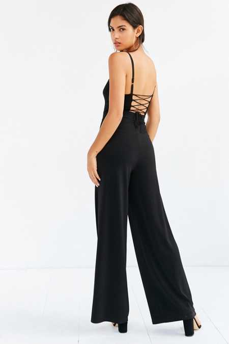 Silence + Noise Midnight Lace-Up Back Jumpsuit