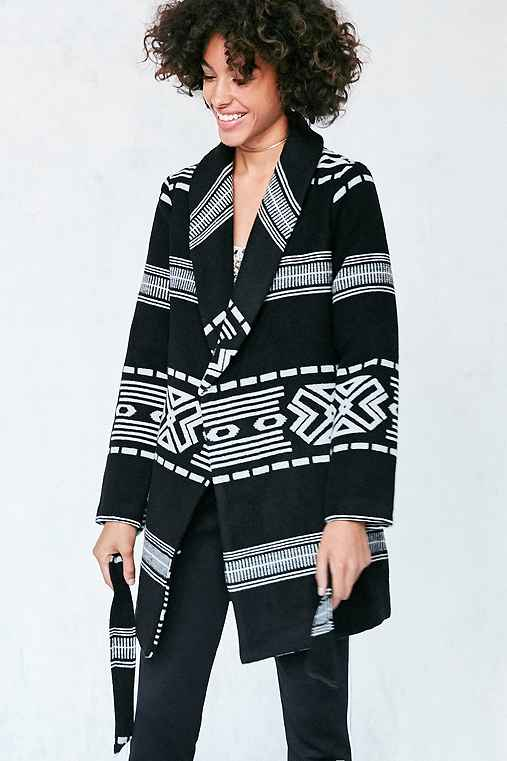 Ecote Patterned Blanket Wrap Coat,BLACK MULTI,XS/S