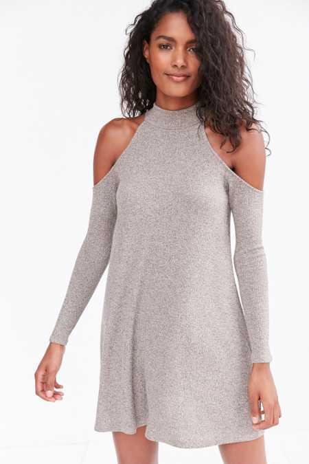 Silence + Noise Cold Shoulder Mock-Neck Frock Mini Dress