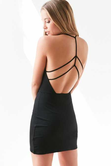 Silence + Noise Deep-V Strappy-Back Bodycon Mini Dress