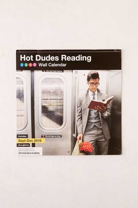 2017 Hot Dudes Reading Wall Calendar