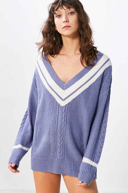 BDG Game Set Match Deep-V Pullover Sweater,PURPLE MULTI,S