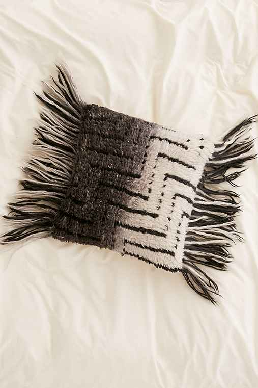 Black + White Ombre Shag Pillow,BLACK & WHITE,18X18