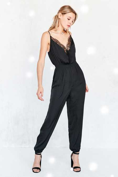 Kimchi Blue Nightingale Lace Trim Satin Jumpsuit