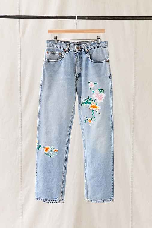 Vintage Levi's Floral Embroidered Jean,ASSORTED,ONE SIZE