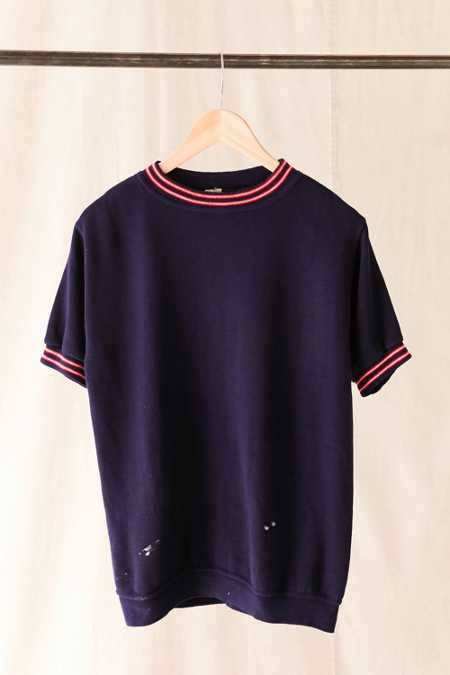 Vintage Short-Sleeved Navy Sweatshirt