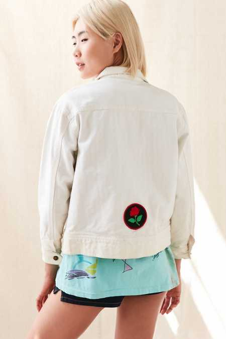 Vintage Ocean Pacific White Denim Patched Jacket