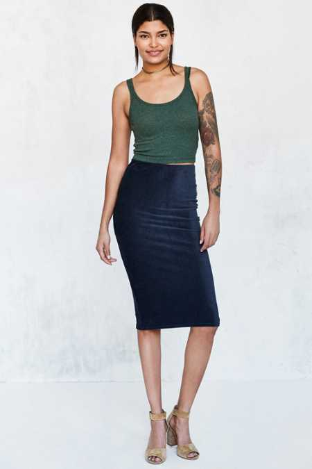Cooperative Cordacious Zip Bodycon Midi Skirt