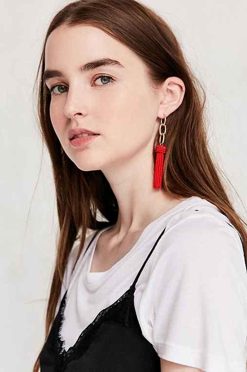 Yara Chain Tassel Statement Earring,RED,ONE SIZE