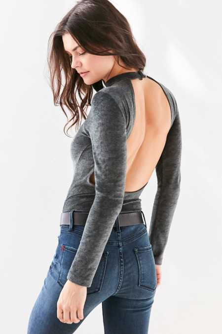 Out From Under Velvet Open Back Bodysuit
