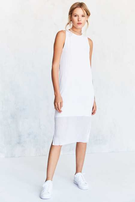 Silence + Noise Pleated Overlay Side-Slit Midi Tank Dress
