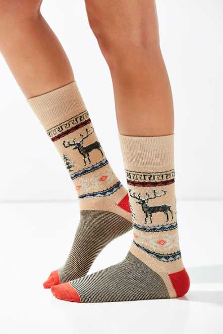 Out From Under Reindeer Intarsia Sock