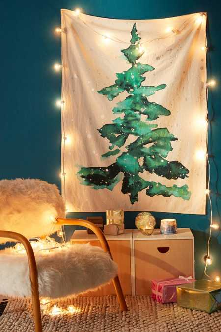 Foil Snow Tree Tapestry
