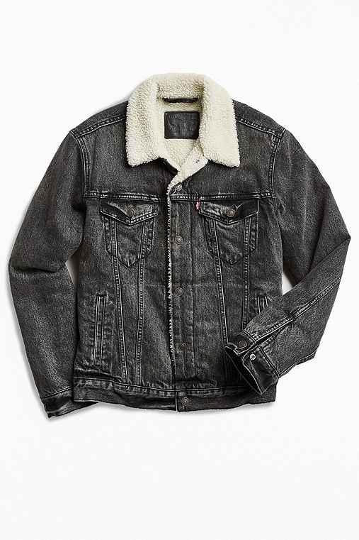 Levi's Denim Sherpa Jacket,BLACK,M