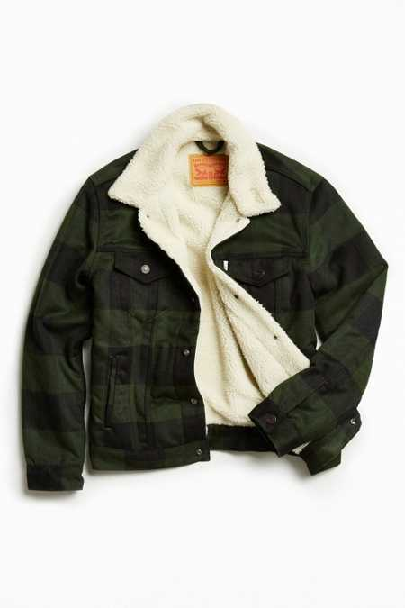 Levi's Buffalo Plaid Flannel Sherpa Trucker Jacket
