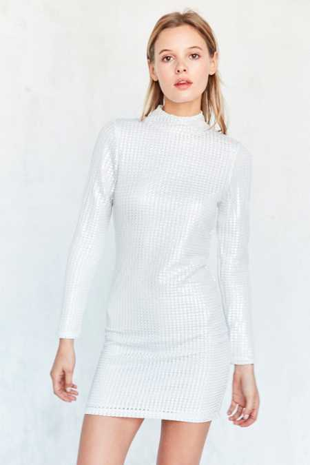 Motel Tempest Metallic Mock-Neck Mini Dress