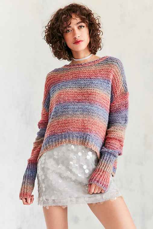 Ecote Daybreak Gradient Stripe Sweater,RED MULTI,XS