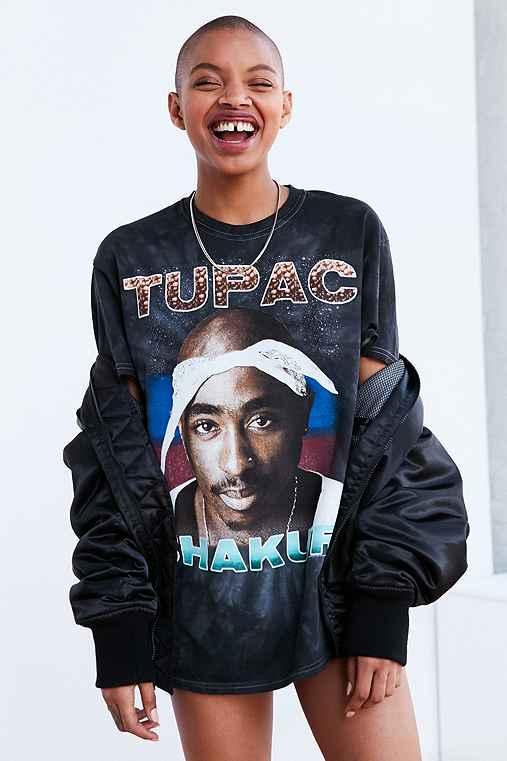 Tupac Tie-Dye Tee,BLACK,L