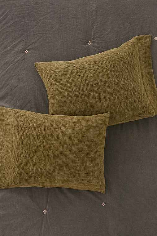 Kyah Textured Sham Set,OLIVE,ONE SIZE