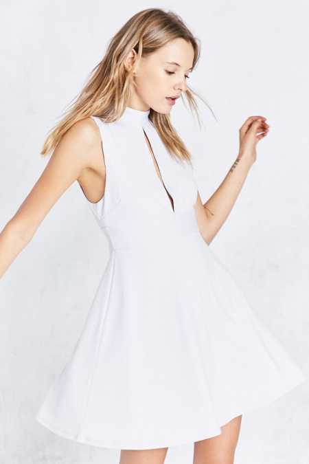 Silence + Noise Danni Keyhole Mock Neck Mini Dress