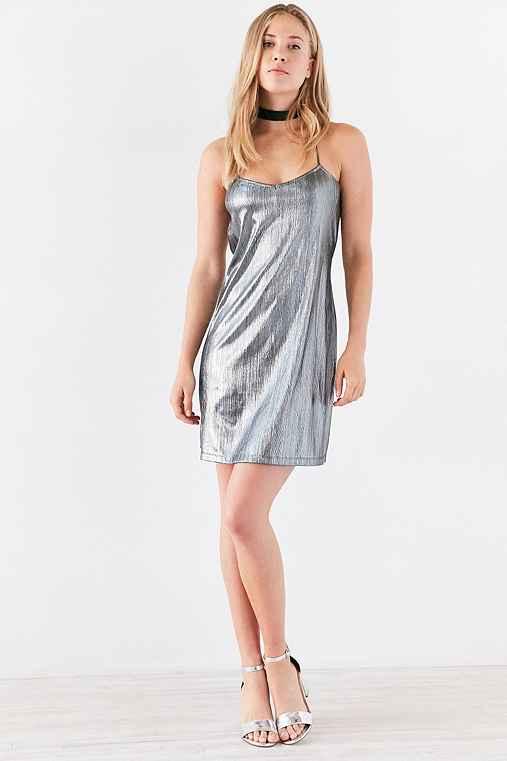 Motel Sterling Metallic Mini Slip Dress,SILVER,S