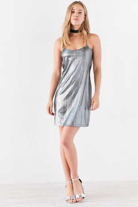 Motel Sterling Metallic Mini Slip Dress