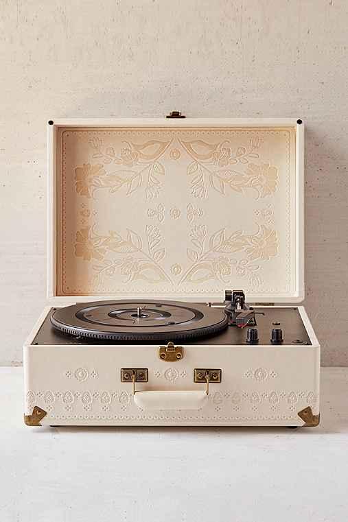 Crosley X UO AV Room Embossed Portable USB Vinyl Record Player,CREAM,ONE SIZE