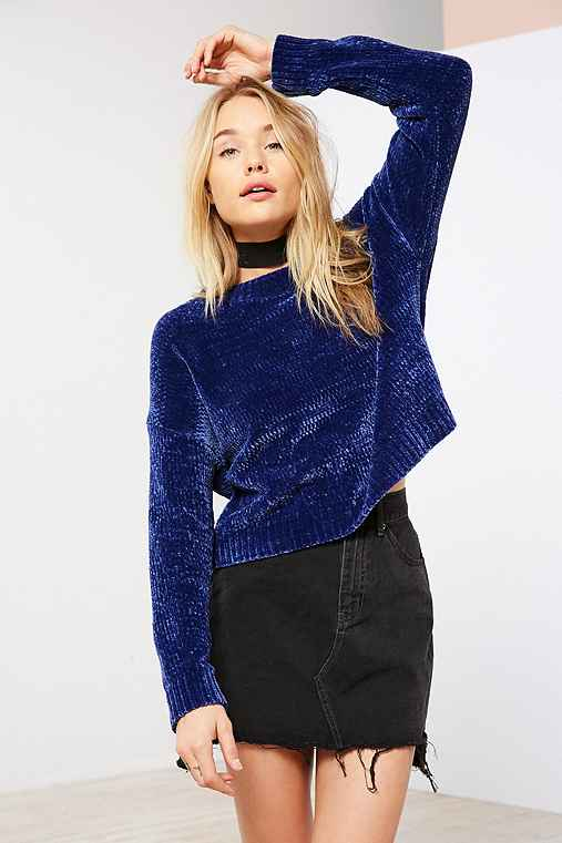 Silence + Noise Velvet Chenille Pullover Sweater,BLUE,XS