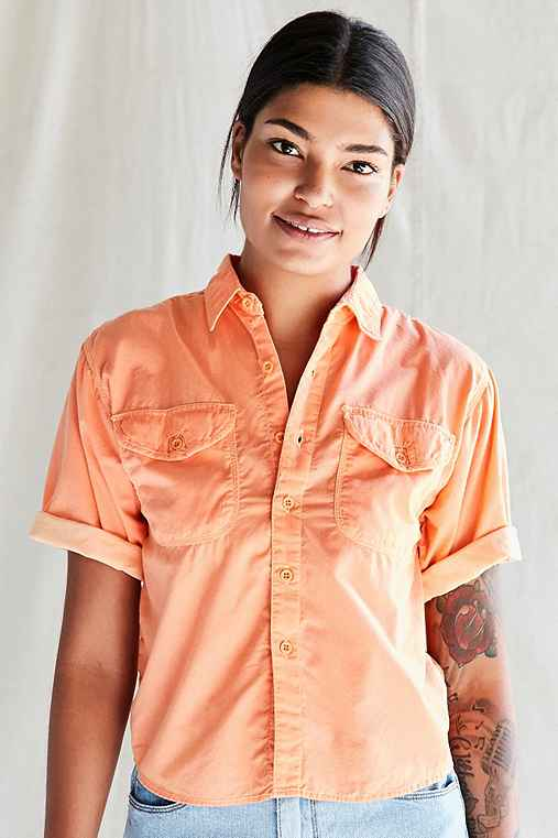 Vintage Deadstock Button-Down Shirt,ORANGE,M/L