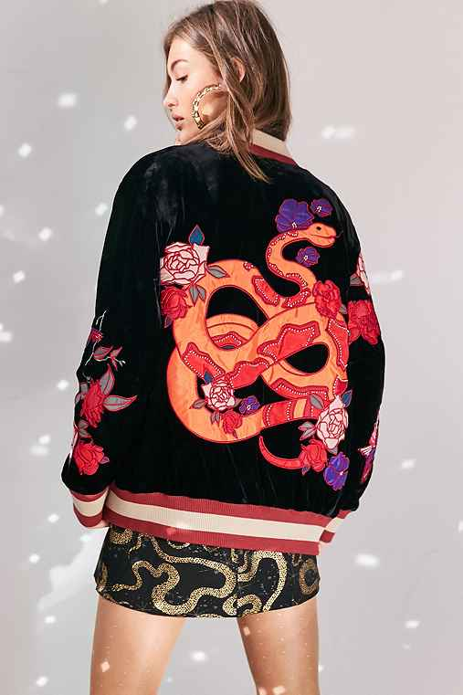Ecote Reversible Embroidered Velvet Bomber Jacket,MULTI,M