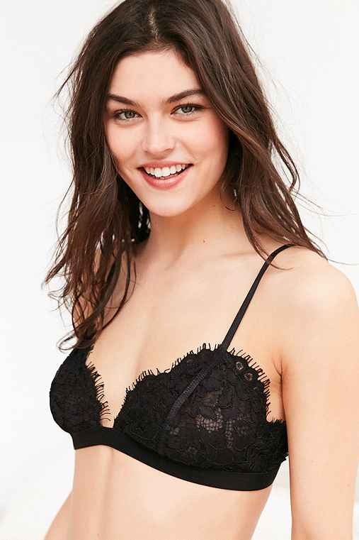 Out From Under Eyelash Lace Bralette,BLACK,M