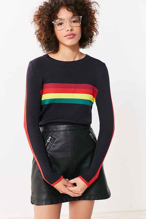 Cooperative Rainbow Striped Pullover Sweater,BLUE MULTI,M