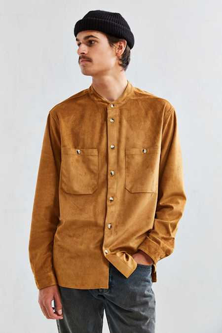UO Faux Suede Band Collar Button-Down Shirt
