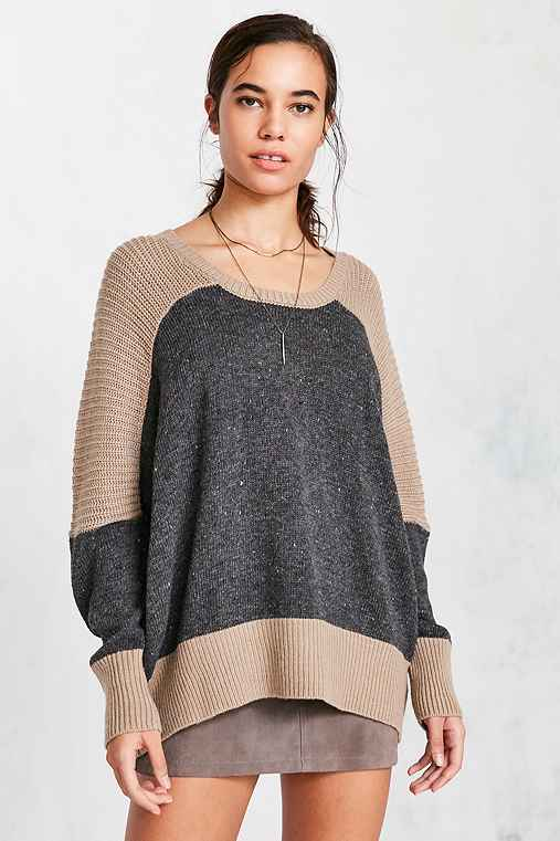 BDG Marled Colorblock Pullover Sweater,TAUPE,S