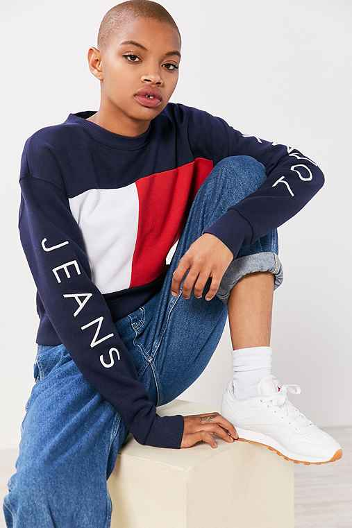 tommy jeans for uo 90s colorblock pullover sweatshirt. Black Bedroom Furniture Sets. Home Design Ideas