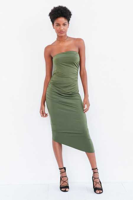 Silence + Noise Slinky Ruched Strapless Midi Dress